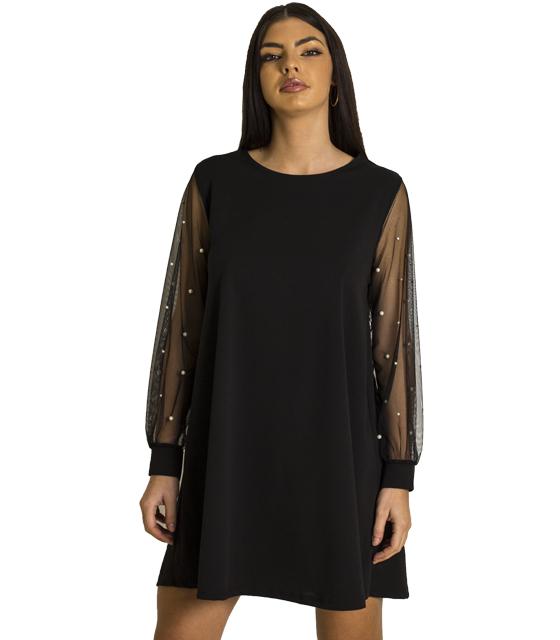 Μαύρο φόρεμα με διαφάνεια και πέρλες στο μανίκι