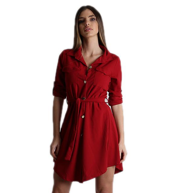 Μπορντό φόρεμα με τσέπες και ζώνη