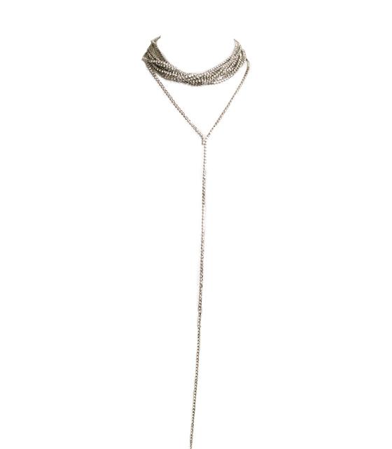 Διαμαντένιο choker κρεμαστό (Ασημί)