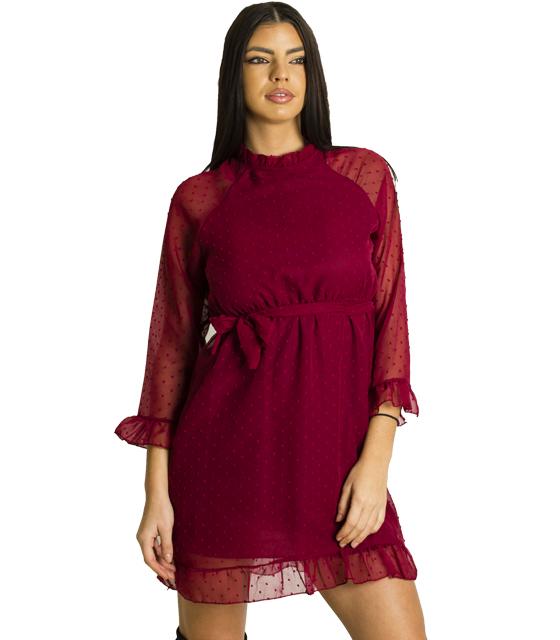 Φόρεμα με ανοιχτή πλάτη και διαφάνεια (Μπορντό)