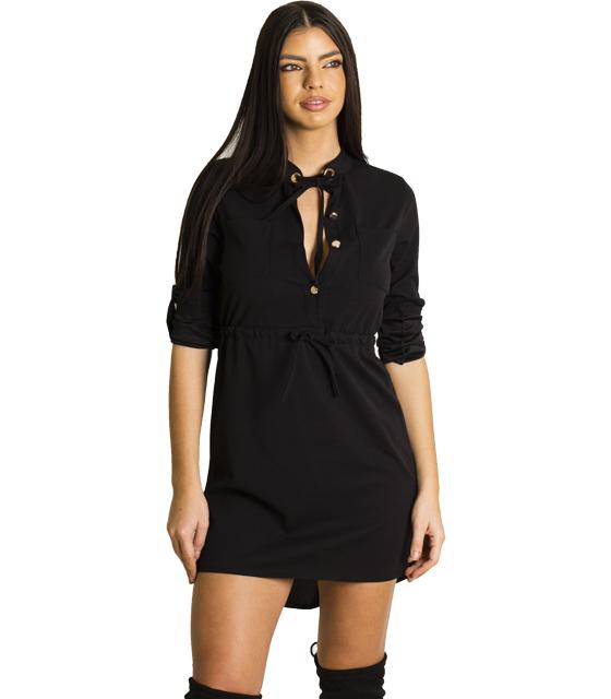 Μίνι φόρεμα με τσέπες και κουμπιά (Μαύρο)