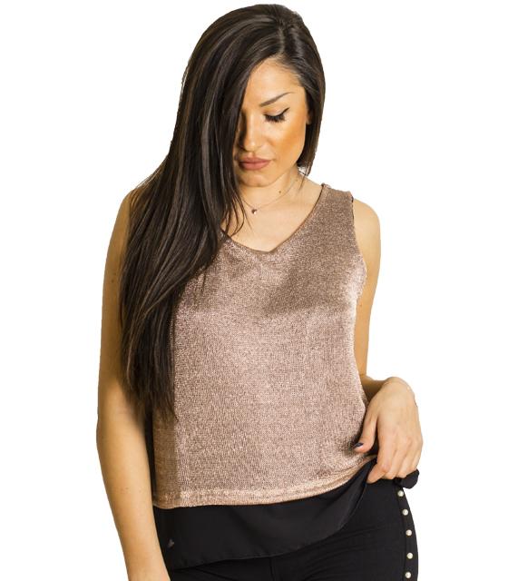 Αμάνικη μπλούζα με ροζ δίχτυ και δέσιμο
