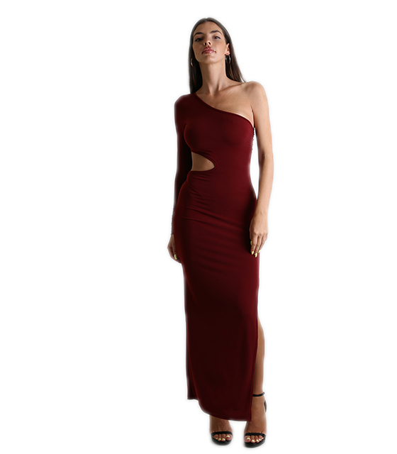 Bordeux long dress with a long sleeve, open at the waist and slit side