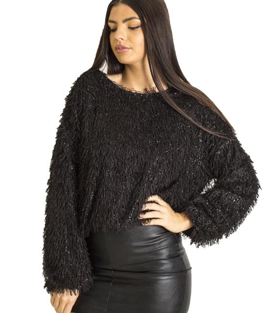 Μακρυμάνικη μπλούζα με γυαλιστερές λεπτομέρειες (Μαύρο) ρούχα   μπλούζες   top