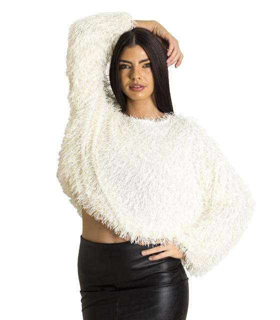 Μακρυμάνικη μπλούζα με γυαλιστερές λεπτομέρειες (Λευκό) ρούχα   μπλούζες   top   φούτερ   μακρυμάνικα
