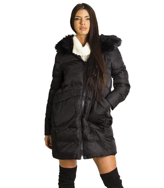 Μαύρο μπουφάν με γούνα και τσέπες