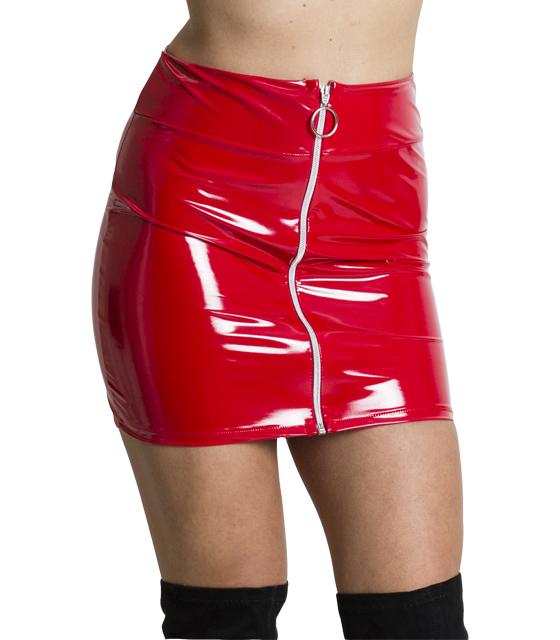 Βινύλ φούστα με φερμουάρ στην μέση (Κόκκινο)