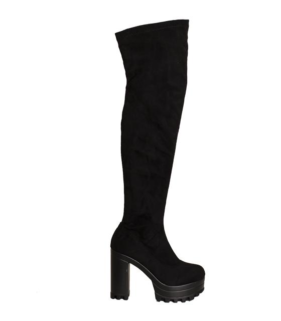 Μαύρη μπότα σουέτ με φερμουάρ στο πλάι