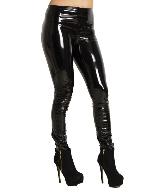 Παντελόνι βινύλ με κρυφό φερμουάρ στο πλάι (Μαύρο)