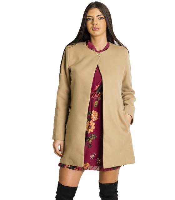 Παλτό με κούμπωμα στην λαιμόκοψη (Κάμελ)