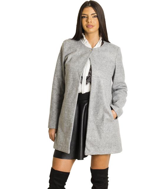Παλτό με κούμπωμα στην λαιμόκοψη (Γκρι) ρούχα   πανωφόρια   σακάκια   παλτό