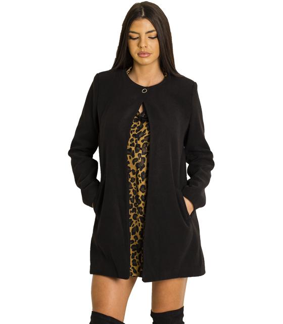 Παλτό με κούμπωμα στην λαιμόκοψη (Μαύρο)