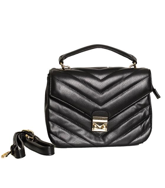 Μαύρη τσάντα ώμου με ρυθμιζόμενο λουράκι και κούμπωμα μαγνήτι