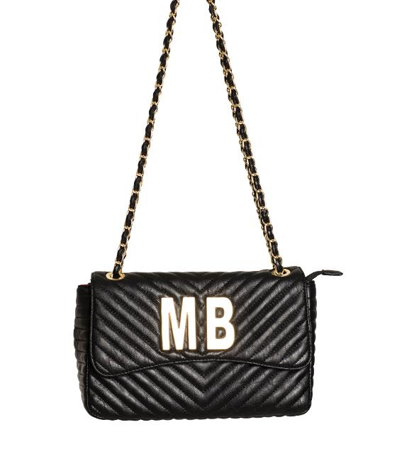 Τσάντα ώμου με χρυσή αλυσίδα με επιγραφή ''ΜΒ'' (Μαύρο)