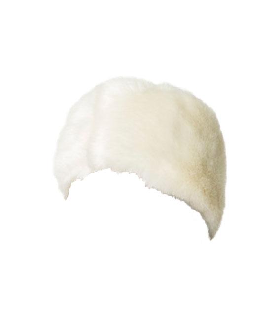 Σκουφάκι κεφαλής κορδέλα γούνινο (Λευκό) αξεσουάρ   καπέλα σκουφάκια