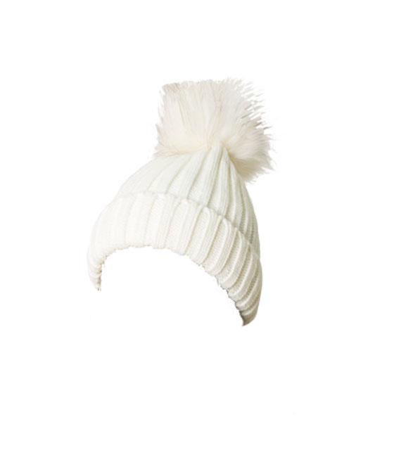Πλεκτό σκουφάκι με γούνινο πον πον (Λευκό) αξεσουάρ   καπέλα σκουφάκια