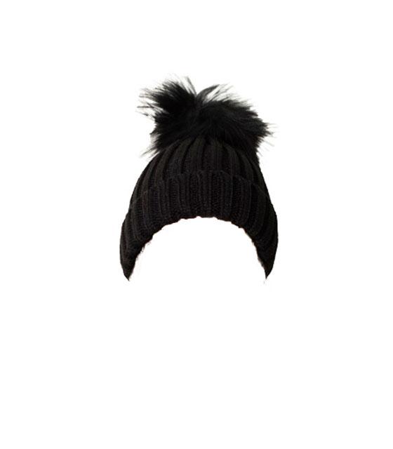Πλεκτό σκουφάκι με γούνινο πον πον (Μαύρο)