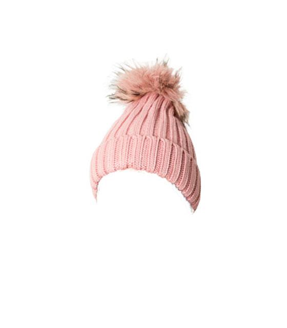 Πλεκτό σκουφάκι με γούνινο πον πον (Ροζ)