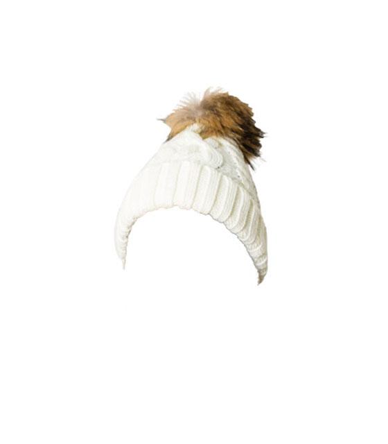 Πλεκτό σκουφάκι με γούνινο μπεζ πον πον (Λευκό)