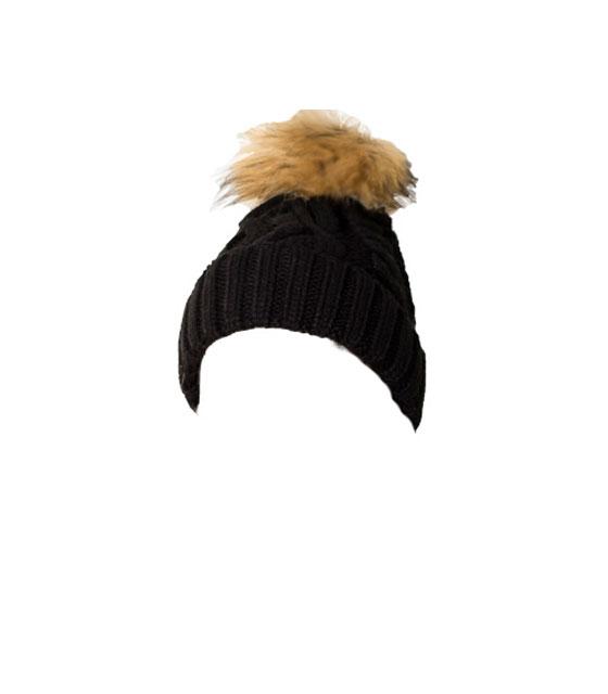 Πλεκτό σκουφάκι με γούνινο μπεζ πον πον (Μαύρο) αξεσουάρ   καπέλα σκουφάκια