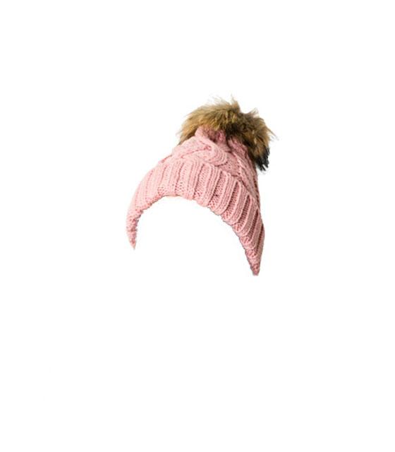 Πλεκτό σκουφάκι με γούνινο μπεζ πον πον (Ροζ)
