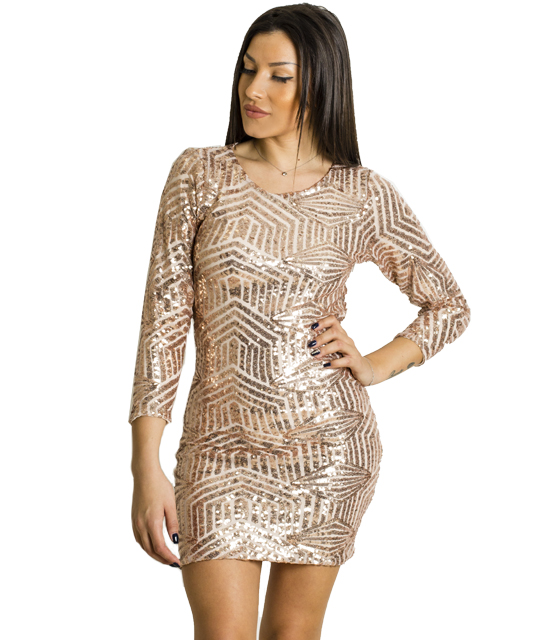 Μίνι φόρεμα εξώπλατο με πούλιες (Ροζ)