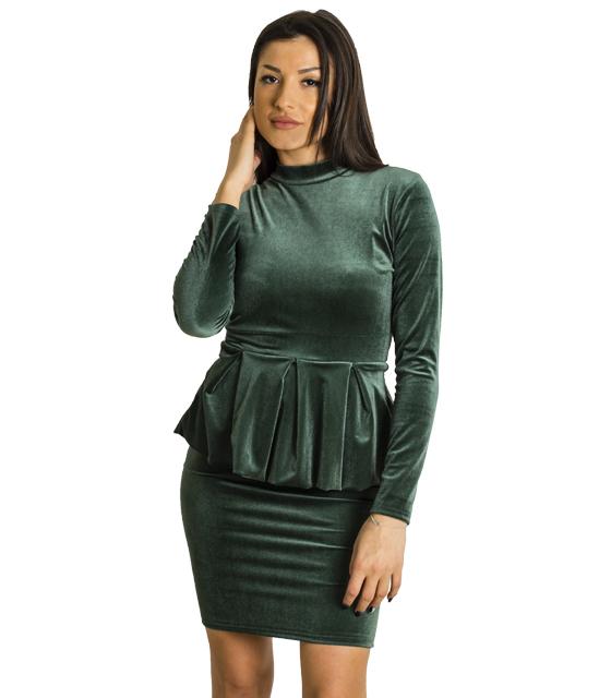 Βελούδινο φόρεμα με βολάν και φερμουάρ (Πράσινο)