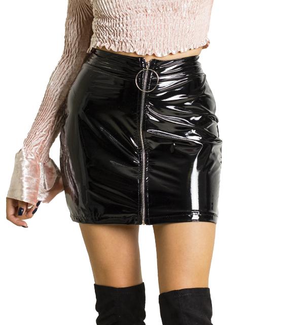 Βινήλ φούστα με φερμουάρ στην μέση (Μαύρη)