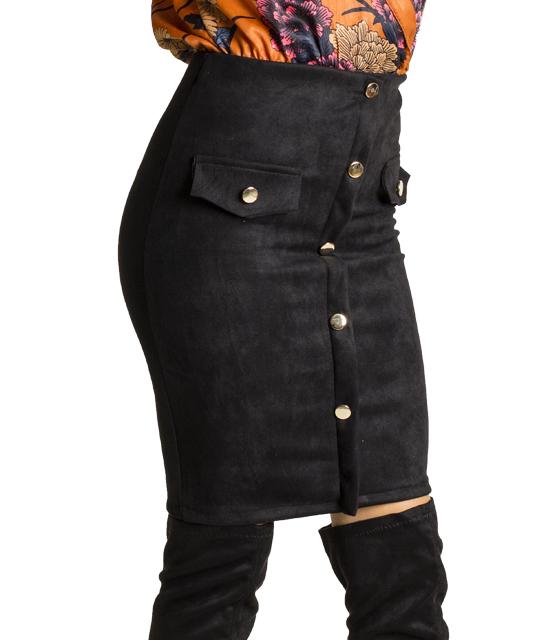 Σουέτ φούστα με ρελιαστές τσέπες και κουμπιά (Μαύρο)
