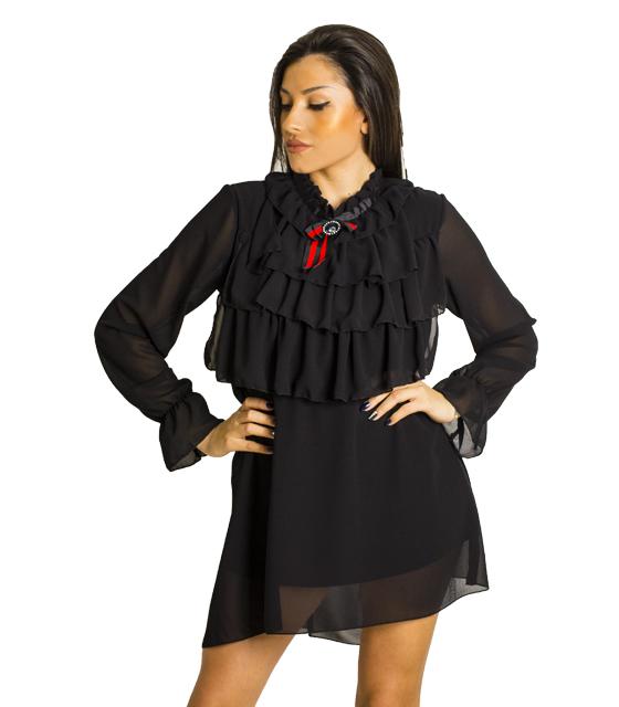 Μαύρο φόρεμα με καρφίτσα και βολάν