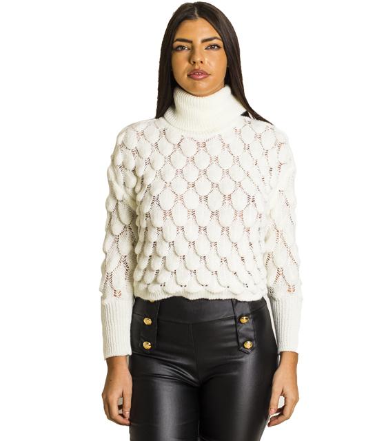 Πλεκτή μπλούζα ζιβάγκο (Λευκό)