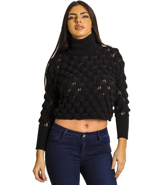 Πλεκτή μπλούζα ζιβάγκο (Μαύρο)