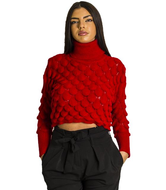 Πλεκτή μπλούζα ζιβάγκο (Κόκκινο)