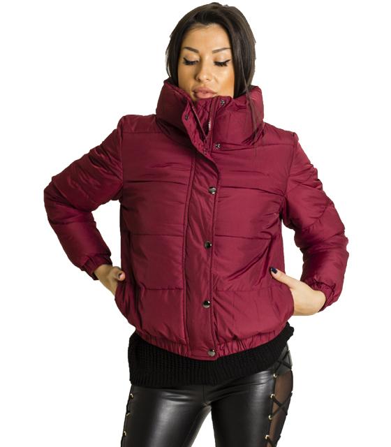 Μπορντό jacket με τσέπες και κουμπια