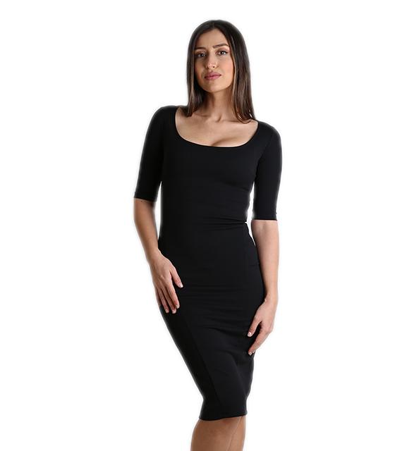 Φόρεμα μαύρο midi σε στενή γραμμή ρούχα   φορέματα