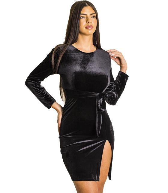 Βελούδινο φόρεμα με ενσωματωμένη ζώνη και χρυσό φερμουάρ (Μαύρο)