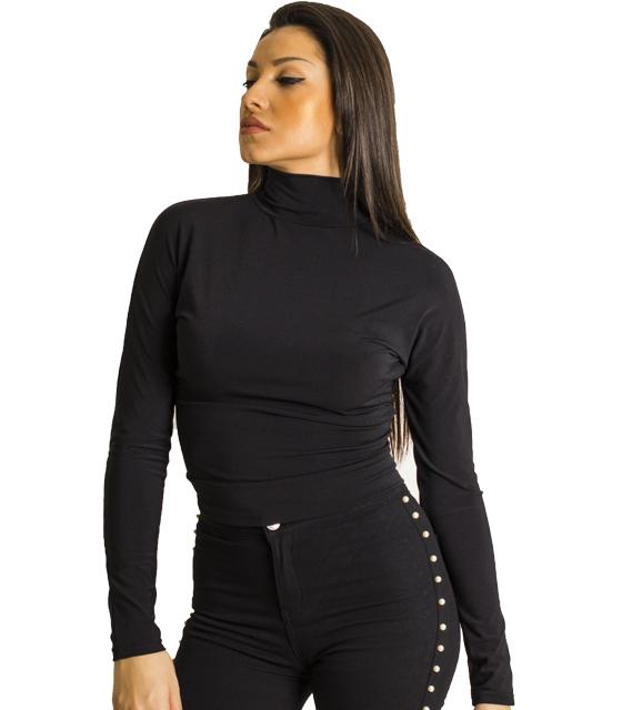 Μαύρη μπλούζα ζιβάγκο με ανοιχτή πλάτη