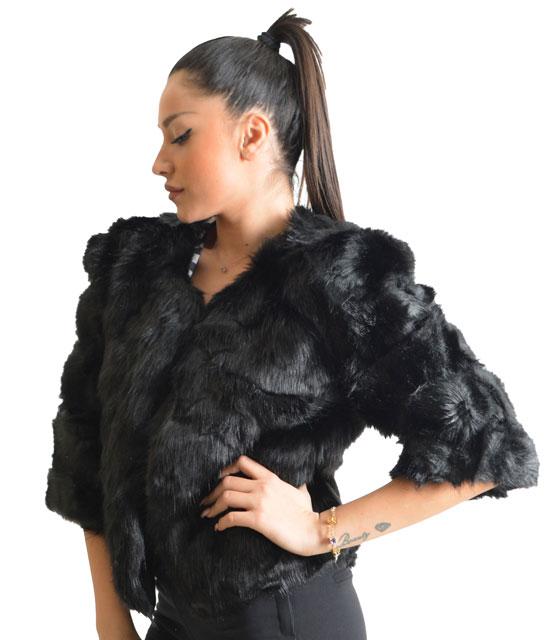 Μαύρη γούνα με 3/4 μανίκι και κρυφό κούμπωμα