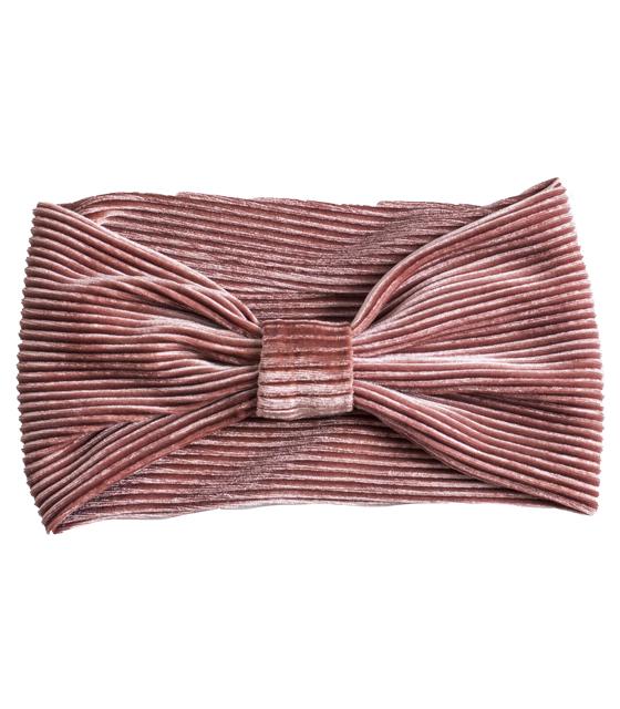 Βελούδινη κορδέλα μαλλιών πλισέ (Ροζ)
