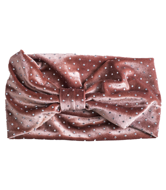 Βελούδινη κορδέλα μαλλιών με ασημί λεπτομέρειες (Ροζ)