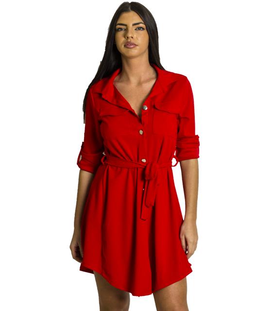 Κόκκινο φόρεμα με τσέπες και ζώνη