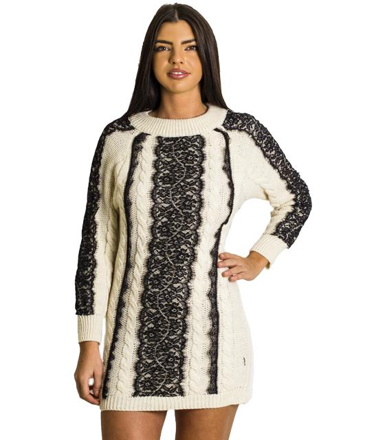 Πλεκτό φόρεμα πλεξούδα με δαντέλα (Λευκό)