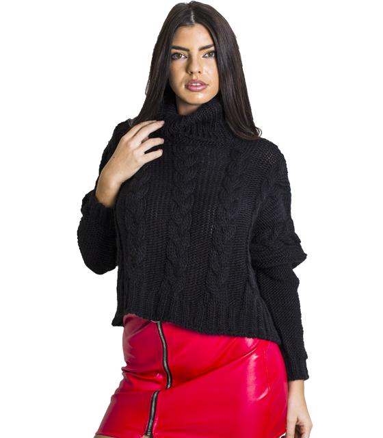 Πλεκτή μπλούζα ζιβάγκο με σχέδιο πλεξούδα (Μαύρο)