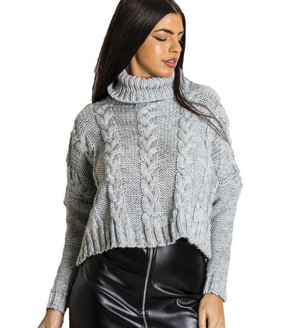 Πλεκτή μπλούζα ζιβάγκο με σχέδιο πλεξούδα (Γκρι)