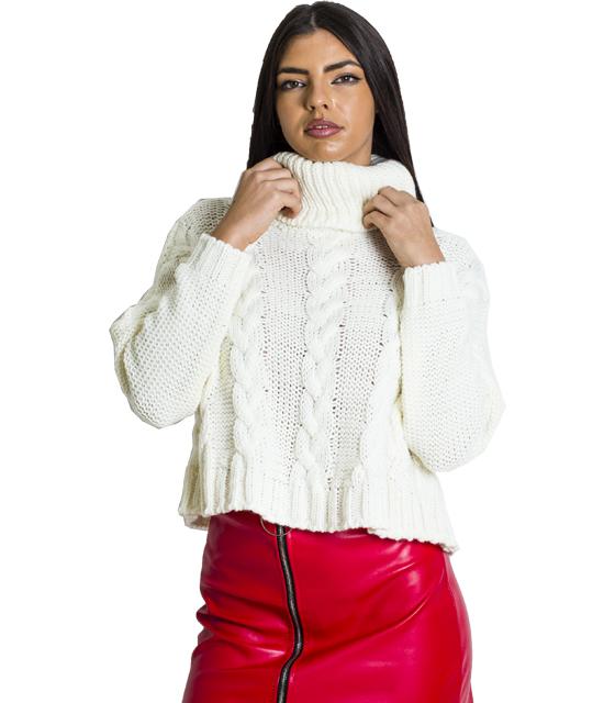 Πλεκτή μπλούζα ζιβάγκο με σχέδιο πλεξούδα (Λευκό)