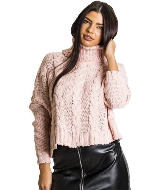 Πλεκτή μπλούζα ζιβάγκο με σχέδιο πλεξούδα (Ροζ)