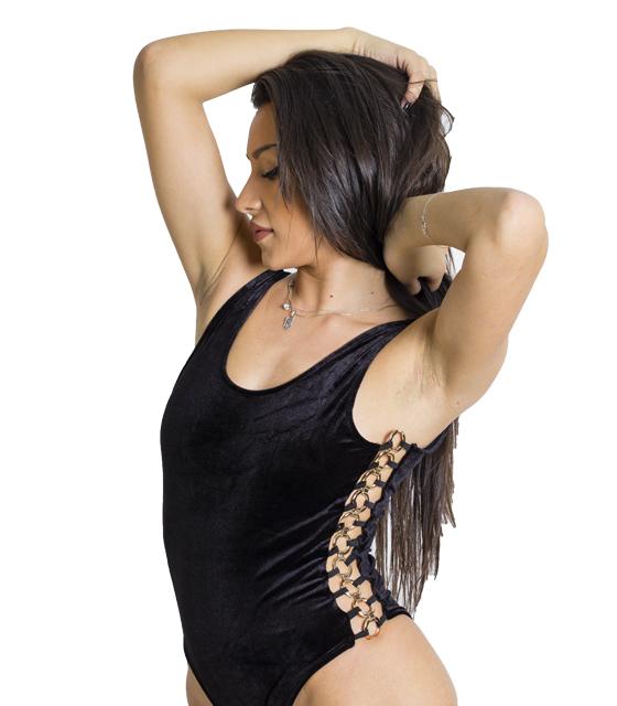 Βελούδινο κορμάκι με χρυσούς κρίκους στο πλάι (Μαύρο) ρούχα   μπλούζες   top   κορμάκια