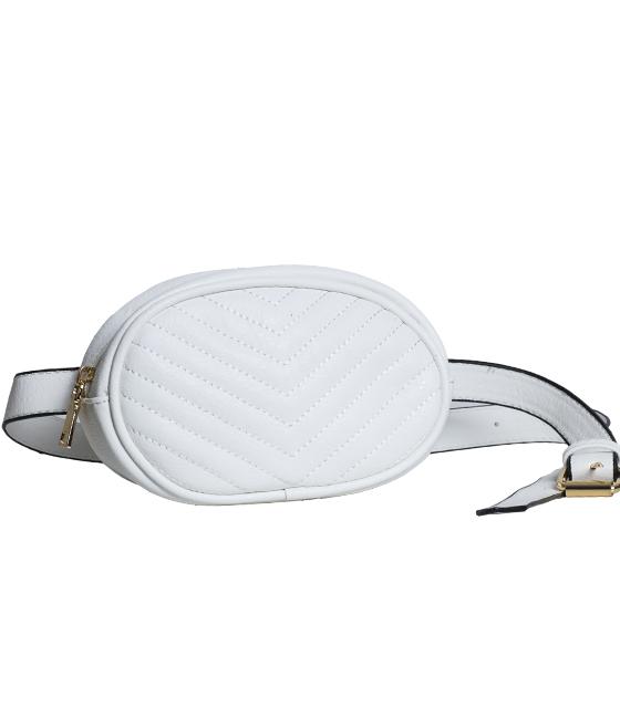 Λευκή τσάντα δερματίνη με ζώνη (Beltbag)