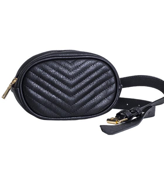 Μαύρη τσάντα δερματίνη με ζώνη (Beltbag)
