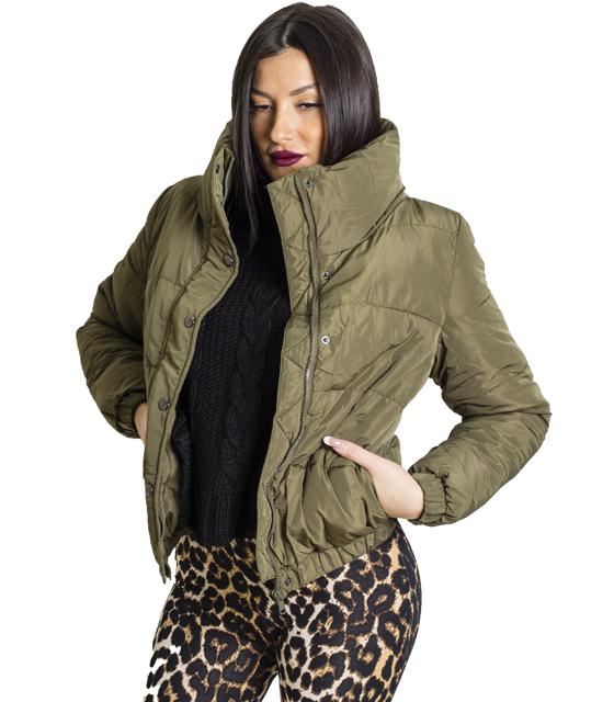 Χακί jacket με τσέπες και κουμπια